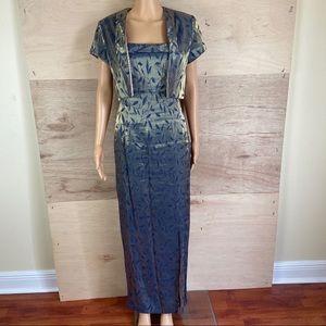 J.R. Nites by Caliendo 2 Piece Gold Blue Dress